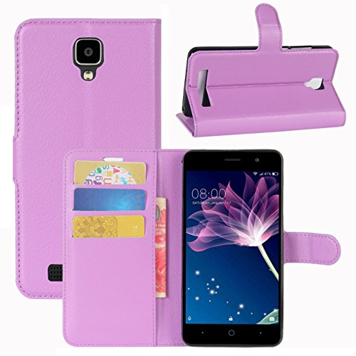 HualuBro Doogee X10 Hülle, [All Aro& Schutz] Premium PU Leder Leather Wallet HandyHülle Tasche Schutzhülle Flip Hülle Cover für Doogee X10 Smartphone (Violett)