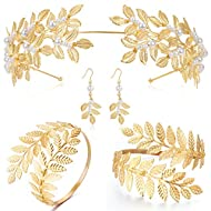 Coucoland Grecian Goddess Costume Accessories Womens Leaf Headband Coil Bracelet