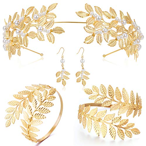Coucoland Goddess Accessories Bridal Wedding Leaf Accessories Set Egyptian Costume Accessories Halloween Cosplay Party Pearl Leaf Headband Pearl Leaf Earrings Leaf Bracelets Accessories