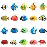 SUNSK Peces de plástico Figuras de Peces Tropicales Animales Marinos de Plástico Artificial Flotante Peces Decoración para Acuario 20 Piezas (Patrones de Aleatorios)