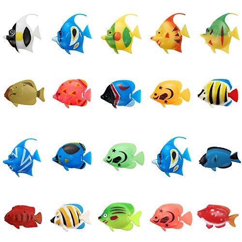SUNSK Künstliche Plastik Fische Tropischer Fische Verzierung für Aquarium Dekoration Aquarium Landschaft 20 Stück (Zufälliger Stil)