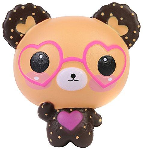 AOLIGE KidsPartyDecorations Squishies Slow Rising Jumbo Kawaii Cute Glasses Bear Creamy Scent Stress Reliever Toy