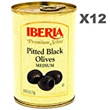 Iberia Pitted Black Olives 6 oz (Pack of 12) Premium Grade Medium Olives from Spain, Ideal for Pizzas, Salads, Sauces, Stews, Rice dishes, or to add a Dash of the Mediterranean to any Recipe