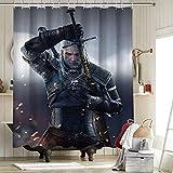 Witcher 3 Wild Hunt Personajes Geralt Sword Cortina de ducha impermeable de tela de poliéster Set de cortina de ducha Geralt Sword Witchcraft Witch 172 x 72 pulgadas