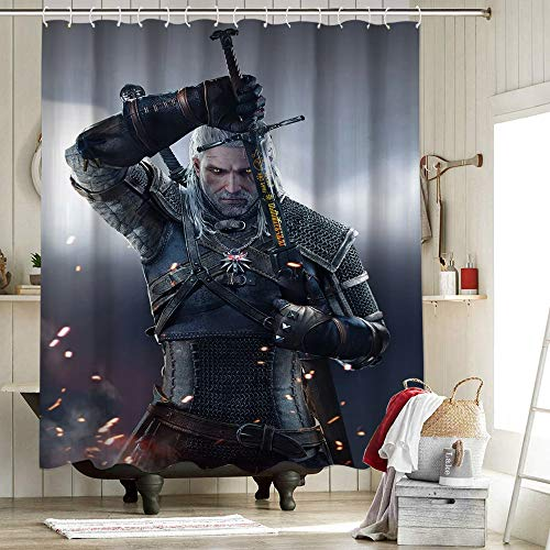 Witcher 3 Wild Hunt Characters Geralt Sword Shower Curtain Waterproof Polyester Fabric Shower Curtain Set Geralt Sword Witchcraft Witch 72X72 Inch