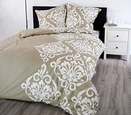 jilda-tex Bettwäsche 100% Baumwolle Design 135x200 cm + 80x80 cm mit Reißverschluss Bettbezug Bettgarnitur Verschiedene Designs (Ornament Classic)