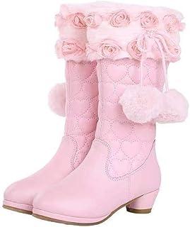 LOBTY filles chaussures de neige bottes de neige princesse rose bottes talons fête Cosplay carnaval noël mariage hiver vac...