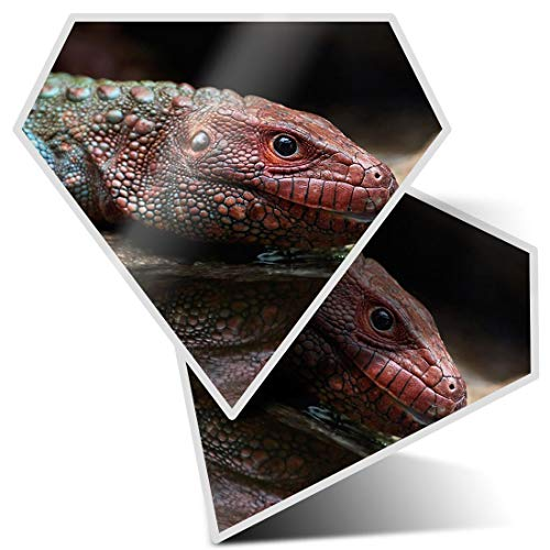 2 pegatinas de diamante de 7,5 cm, color rojo del norte de Caiman Lizard divertido calcomanías para...