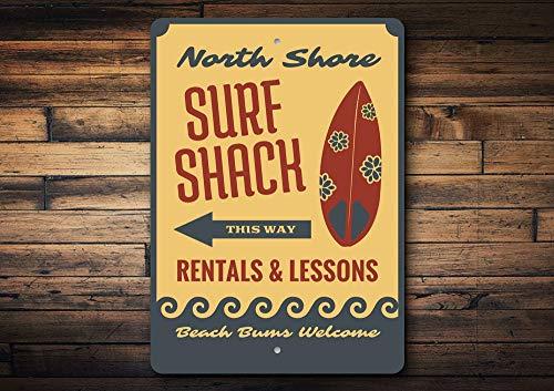 Yilooom Surf Shack Schild, Shack Surf Dekoration, Surfboard Liebhaber, Surfboard Shops, Surfen Coastal Dekoration, Strand, Aluminium Geschenk, hochwertiges Metall Shack Schild