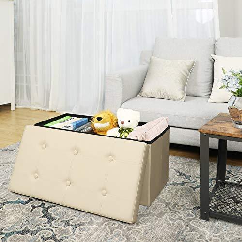 SONGMICS Sitzhocker Sitzbank mit Stauraum faltbar 2-Sitzer belastbar bis 300 kg Kunstleder beige 76 x 38 x 38 cm LSF40M - 3