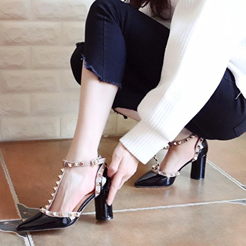 Xue Qiqi Pumps Pumps Pumps Sandalen Schuhe Geschlitzten Schelleisen Dick mit Hochhackigen Schuhe Schwarz und Vielseitige Tipp Frauen Schuhe Licht - bemalte Leder Einzelne Schuhe  e636d2