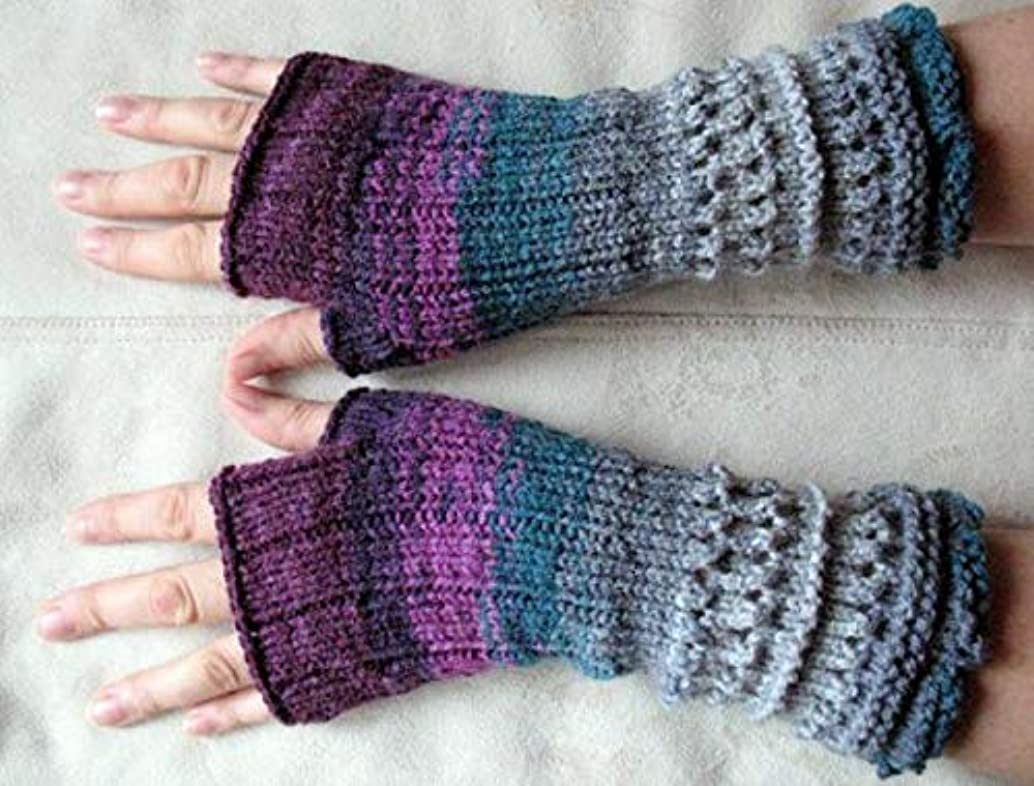 Fingerless Gloves Mittens wrist warmers Violet Purple Blue Burgundy Green Gray D