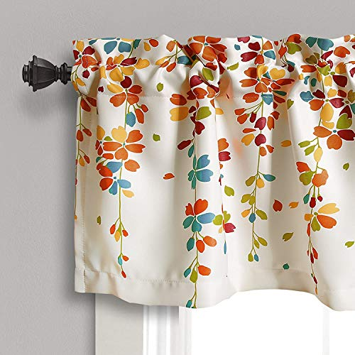 Lush Decor Weeping Flowers Turquoise and Tangerine Valance Curtain for Windows, Turquoise
