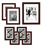Americanflat Picture Frame in Mahogany MDF with Shatter Resistant Glass - Horizontal and Vertical Formats - Various Dimensions - Pack of 7