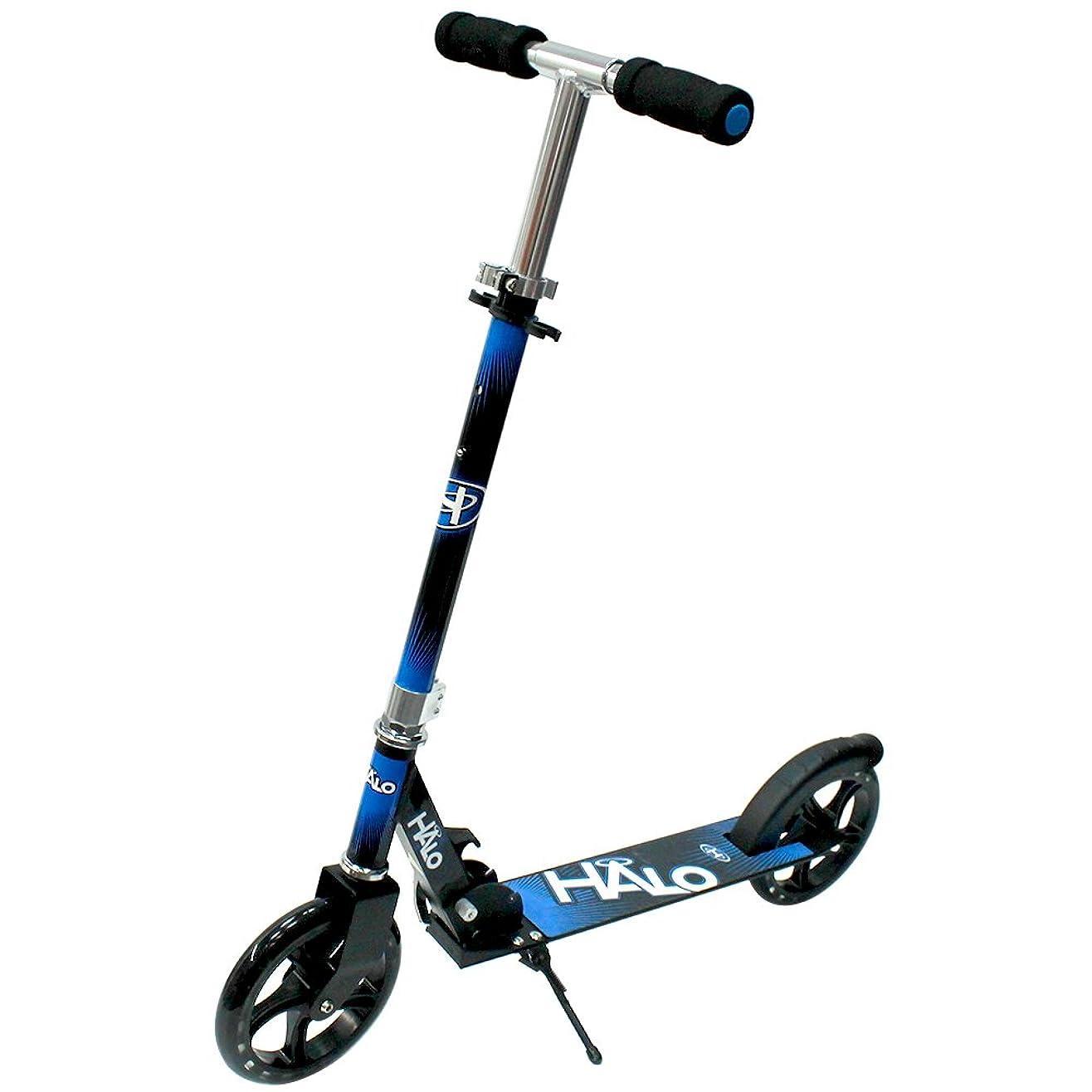 副デザイナーしつけHALO(ハロ) Big Wheels Scooter キックボード キックスケーター [折りたたみ式/フットブレーキ付/ウィールABEC 5] … (ブルー/ブラック)
