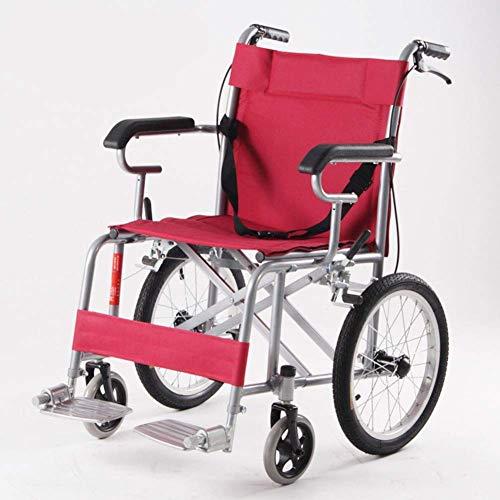 KANJJ-YU Rehab Silla médica, Silla de ruedas, Manual de aleación de aluminio con silla de ruedas plegable portátil de ancianos discapacitados Travel pequeña rueda cuatro ruedas-unidad portátil de anci
