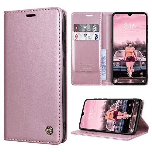 RuiPower Kompatibel für Xiaomi Mi 9 Hülle Premium Leder PU Handyhülle Flip Hülle Wallet Lederhülle Klapphülle Klappbar Silikon Bumper Schutzhülle für Xiaomi Mi 9 Tasche - Rose Gold