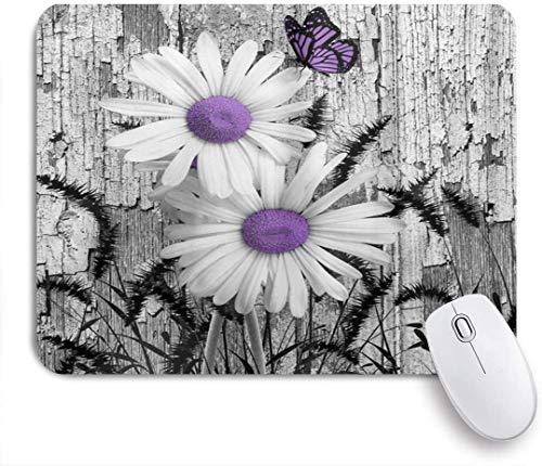 HUAYEXI Stoff Mousepad,Lila Grau Weiß Gänseblümchen Blumen Schmetterling Schwarz Fuchsschwanz Gras,Rutschfest eeignet für Büro und Gaming Maus