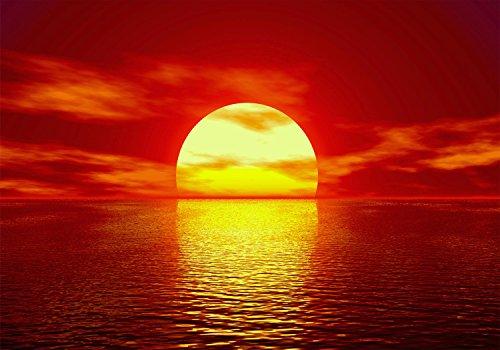 wandmotiv24 Fototapete Sonnenuntergang Meer 1 XL 350 x 245 cm - 7 Teile Fototapeten, Wandbild, Motivtapeten, Vlies-Tapeten Strand, Sonne, Abendhimmel M0048