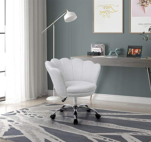Artiron Modern Swivel Shell Chair for Desk Leisure Armchair,Fabric Chair with Wheels for Bedroom(Beige)