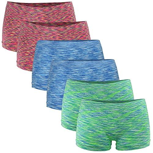 Fabio Farini Damen Panties 6er Pack Hipsters Boxershorts nahtlos, Seamless aus weichem Microfaser-Gewebe 2X Neon Rot/2x Neon Grün/2x Neon Blau L-XL