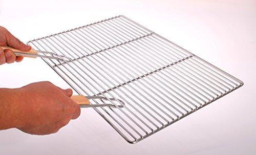 Grille de barbecue rectangulaire en acier inoxydable 54 x 34 cm avec 2 poignées, tiges V2A de 4/6 mm, brasero de cheminée
