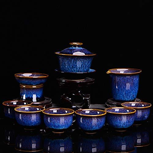 Juego de té de cerámica cambiada de horno de lujo juego de té Tianmu Glaze Jianzhan Kung Fu tetera cubierta tazón de té Set regalo