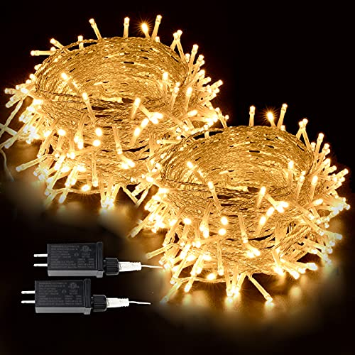2-Pack Extendable Christmas Lights, Total 240LED Waterproof Clear Wire String Lights Indoor/Outdoor, 8 Modes Twinkle Lights for Room, Garden, Xmas Tree Decorations (Warm White)