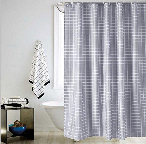chenyu Rideau de douche décoratif 100 % polyester imperméable, anti-moisissure, antibactérien, séchage rapide, avec crochets, protection de la vie privée pour la maison et l'hôtel, taille 220 x 200 cm (carreaux gris)