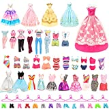 BARWA 36 Pack Doll Clothes and Accessories 5 PCS Fashion Dresses 5 Tops 5 Pants Outfits 3 PCS Wedding Gown Dresses 3 Sets Swimsuits Bikini for 10 Hangers 10shoes 11.5 inch Doll by BARWA