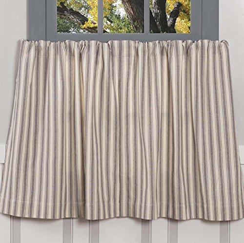 "Piper Classics Market Place Gray Ticking Stripe Tier Curtains, Set of 2, 24"" L x 36"" W, Farmhouse Style Café' Curtains"