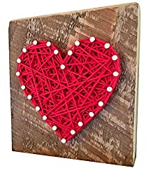Heart string art Valentine's Day decorations.