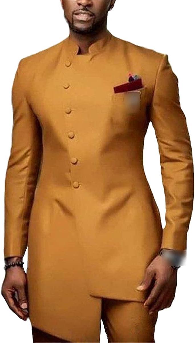 CACLSL Gold Slim Men's Suit Wedding Groom Tuxedo 2 Piece Jacket + Pants Groom Suit Front Button Design