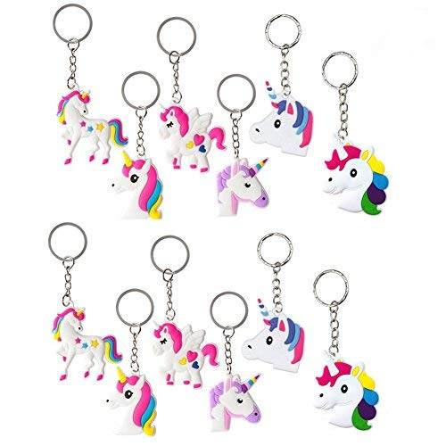 Einhorn Gastgeschenke Einhorn Schlüsselanhänger Armband Set Anhänger für Tasche und Schlüssel, Einhorn Geburtstagsfeier Gefälligkeiten für Kinder Mädchen, Emoticon Spielzeug (12 Schlüsselanhänger)