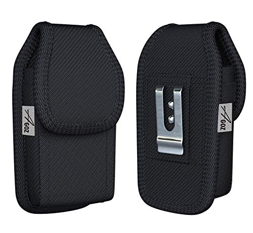 AGOZ Carrying Case for LG G8 ThinQ, G7 ThinQ, X Power 2 M320F, X Charge M322, Fiesta LTE L64VL L63BL, Fiesta 2 LTE, Heavy Duty Rugged Canvas Vertical Holster with Strong Metal and Clip Belt Loops