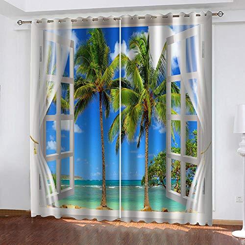 BWBJJ 3D Verdunkelungsvorhang Meerblick aus dem Fenster Verdunkelungsvorhang 3D-Druck Mode Schlafzimmer Wohnzimmer Dekoration Isolierung Lärmschutzvorhänge 2 x B117 x H138 cm