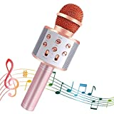 SeeKool Bluetooth Karaoke Micrófono con Las Luces LED, Altavoz inalámbrico portátil, para Cantar Hogar KTV, mejor regalo para cumpleaños, Compatible con Android/iOS/Ipad/PC (pink)