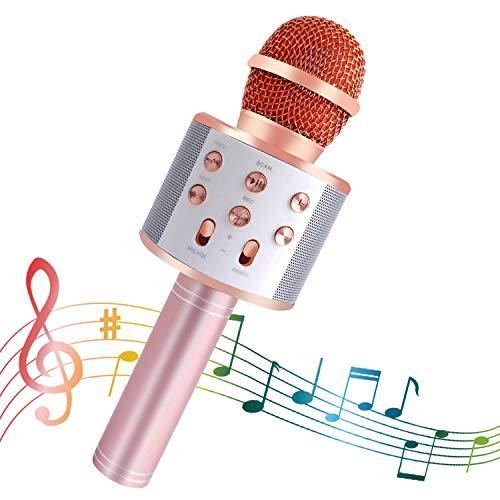 SeeKool Microfono Karaoke Bluetooth con LED Flash Funzione Eco, Wireless Portatile Altoparlante, KTV Player Home Party Regali di compleanno, Compatibile con Android/iOS/ipad/PC (pink)