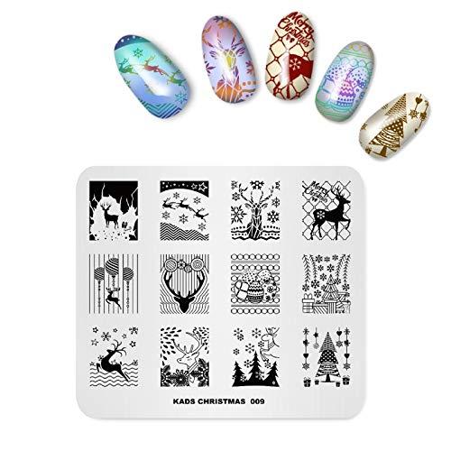 Modello di piatto per timbrare nail art Tema natalizio Modello di alce Immagine di stampo per timbri per unghie Strumento per la stampa di manicure