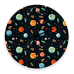 12 Inch Silent Round Wooden Wall Clock Cartoon Solar System Orbit Wall Clock, Non Ticking Battery Operated Quartz Home Decor Wall Clocks for Living Room/Kitchen/Office