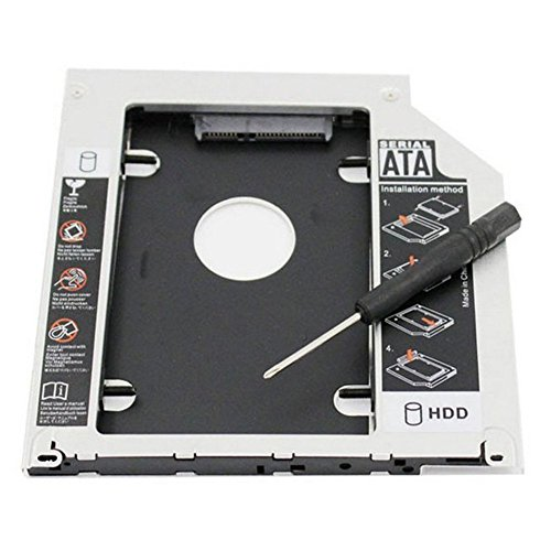 RGBS hard drive Tray Caddy 2nd HDD SSD kit compatibile con 2,5' 9.5 mm SATA HDD SSD 2 nd HDD adattatore per Apple MacBook Pro Unibody 13' 15' 17' SuperDrive DVD gratuito