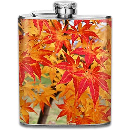 Bunt Herbst Herbst Ahorn Blätter Retro Tragbare 304 Edelstahl Auslaufsicher Alkohol Whisky Schnaps Wein 7 Unzen Topf Flachmann Reise Camping Flagon