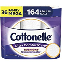 Cottonelle Ultra ComfortCare Soft Toilet Paper with Cushiony CleaningRipples, 36 Family Mega Rolls