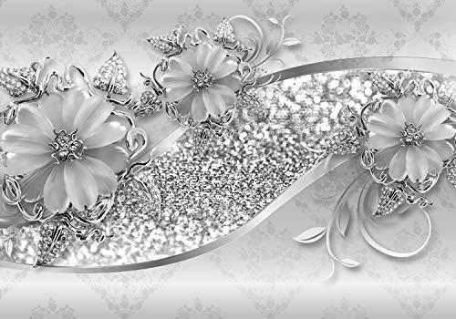 wandmotiv24 Fototapete grau Blumen Diamanten XXL 400 x 280 cm - 8 Teile Fototapeten, Wandbild, Motivtapeten, Vlies-Tapeten Blüten Ornamente M3798