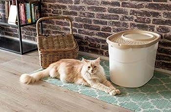 Iris Ohyama, Maison de toilette / bac à litière fermé avec entrée par le haut et couvercle à trous, grande entrée ø 22.9 cm, pelle incluse, pour chat - Top Entry Cat Litter Box TECL-20 - Blanc