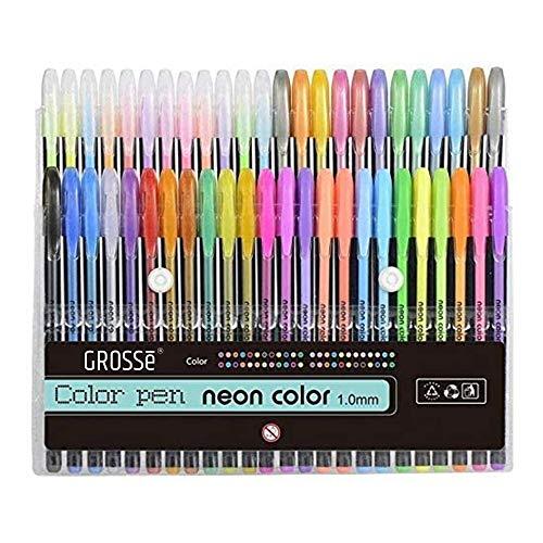 GROSSē Paquete de 48 bolígrafos de tinta de gel de color, el mejor juego de bolígrafos de gel para libros de colorear adultos, dibujar y escribir, con rango de puntas de 1,0 mm