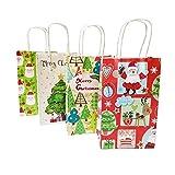 Bolsa de papel kraft con asa decorativa para árbol de Navidad, diseño de Papá Noel y árbol de Navidad, 10 unidades