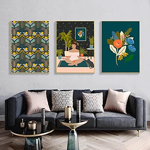 DUYAO00 Yoga Girl Arte de la Pared Campo Abstracto de Margaritas Pintura en Lienzo Carteles nórdicos Imprimir imágenes de Pared para la decoración de la Sala de Estar 60X80cmX3 sin Marco