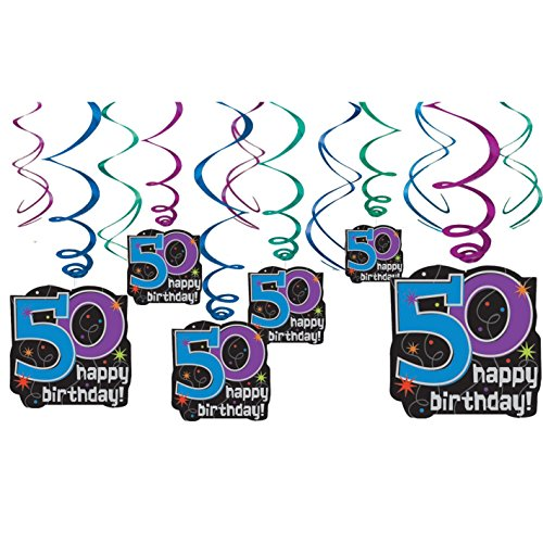 "The Party Continues 50th Birthday Party Hanging Swirl Ceiling Decoration, Pack of 12, Multi , 9.5"" X 2.8"""