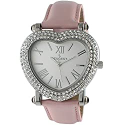 Silver Heart Wrist Watch with Crystal Studded Case & Pink Leather Strap